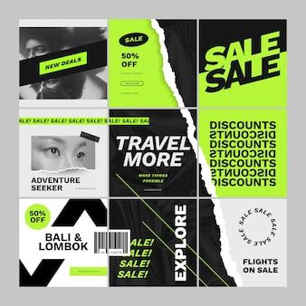 Conjunto de feed de quebra-cabeça para venda de viagens
