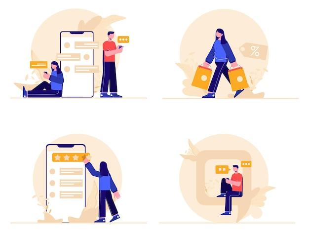 Conjunto de feedback e depoimentos de compras online