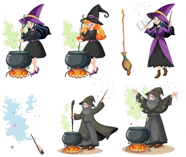 Conjunto de feiticeiros ou bruxas com estilo de desenho animado de ferramentas mágicas isolado