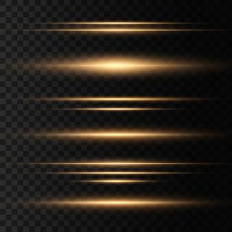 Conjunto de feixes de laser horizontais amarelos