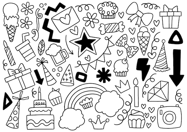 Conjunto de feliz aniversário de doodle desenhado à mão