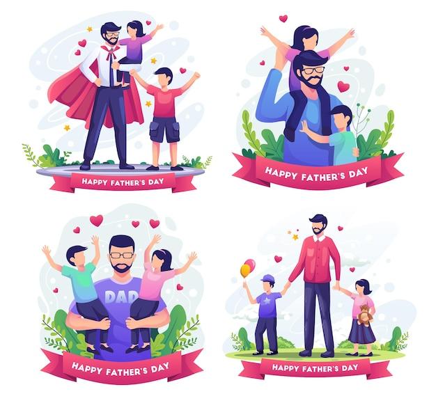 Conjunto de feliz dia dos pais com o pai brincando com a ilustração de seus filhos