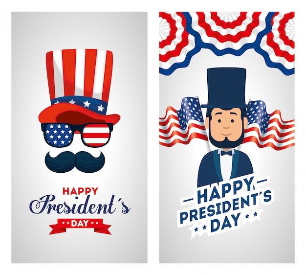 Conjunto de feliz dia dos presidentes cartão
