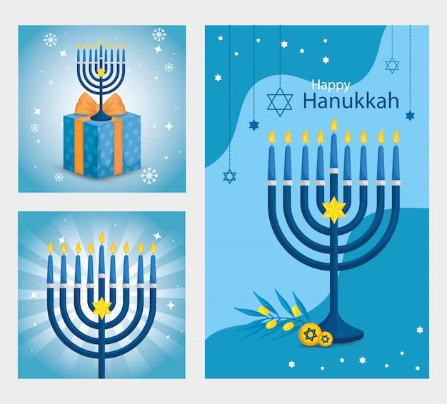 Conjunto de feliz hanukkah com decoração