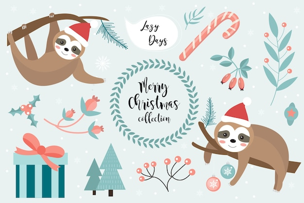 Conjunto de feliz natal de preguiça fofa. coleção de elementos de design com um pouco de preguiça