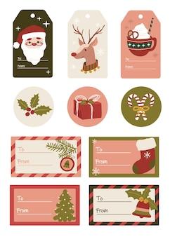Conjunto de feliz natal, feriado de papai noel, rena candycane, presente e meias para etiquetas de natal