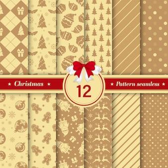 Conjunto de feliz natal sem costura padrão na cor dourada