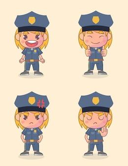 Conjunto de feliz personagem policial com muitas expressões de gestos Vetor Premium