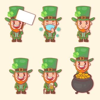 Conjunto de feliz st. personagem do dia de patrick com muitas expressões de gestos.
