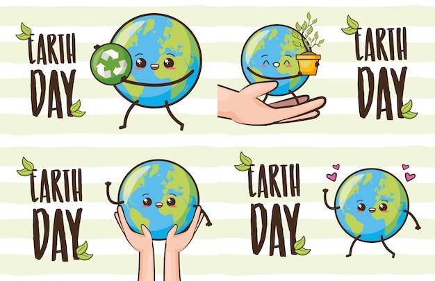 Conjunto de feliz terra kawaii, dia da terra, ilustração