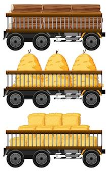 Conjunto de feno em um carrinho isolado no branco
