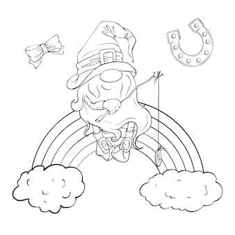 Conjunto de feriado do dia de são patrício, gnomo bonito dos desenhos animados, duende. ilustração.