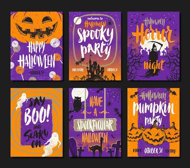 Conjunto de feriados de halloween mão cartazes desenhados ou cartão de felicitações.