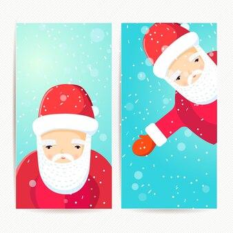 Conjunto de férias banners de natal com fundo azul de papai noel e flocos de neve. ilustração do estilo simples.