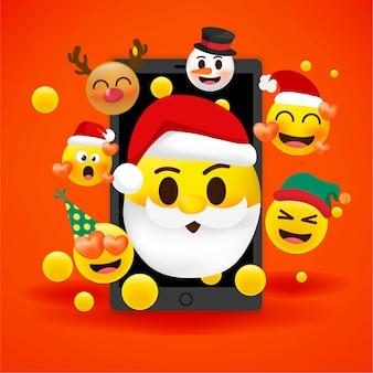 Conjunto de férias de ícones de rosto de natal com emoções diferentes. ilustração.