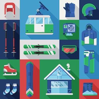 Conjunto de férias de inverno. coleção de vetores de equipamentos de esqui e snowboard de montanha.