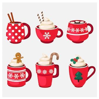 Conjunto de férias de inverno copo de natal com bebida quente