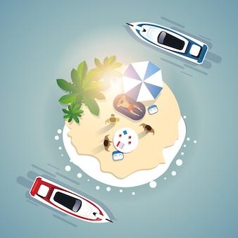 Conjunto de férias de praia de verão banner de férias de ilha tropical de areia