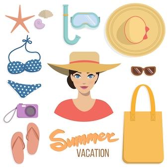 Conjunto de férias de verão de acessórios de praia.