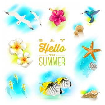 Conjunto de férias de verão e elementos da natureza tropical.