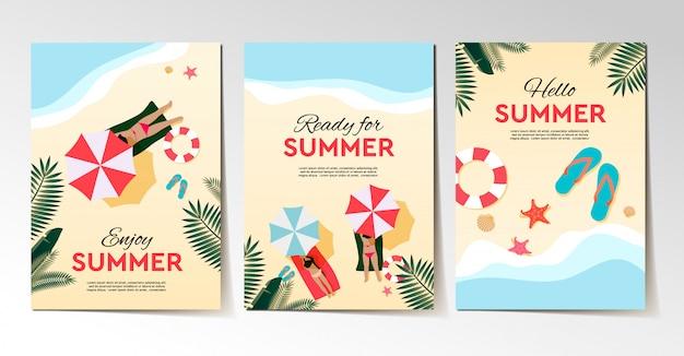 Conjunto de férias de verão e panfleto de férias tropicais