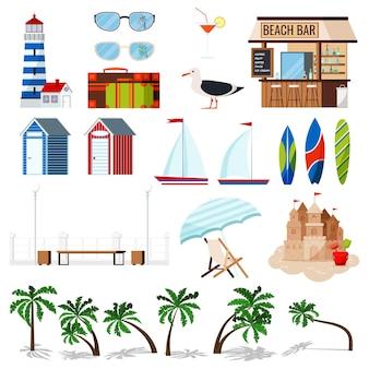 Conjunto de férias de verão isolado no fundo branco