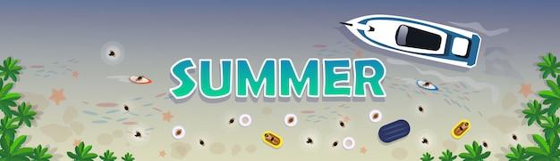 Conjunto de férias de verão praia banner de férias tropical de areia