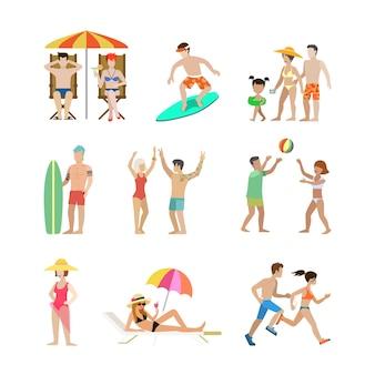 Conjunto de férias em família. filhos de mulher homem vão se divertir ilustração de férias interessantes. coleção de estilo de vida de turismo a viajar.