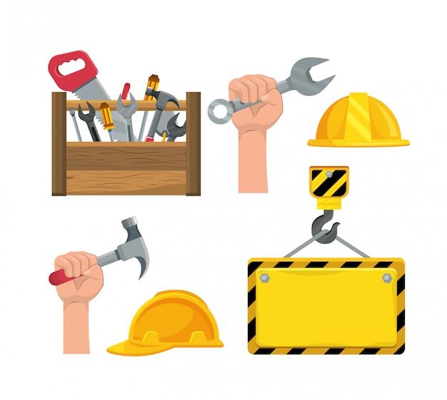 Conjunto de ferramenta de caixa de construção e mão com martelo