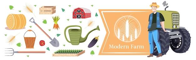 Conjunto de ferramentas agrícolas, equipamento de jardinagem e agricultor perto de trator conceito de agricultura ecológica orgânica