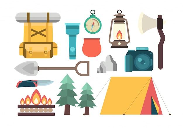 Conjunto de ferramentas de acampamento de escoteiro de verão
