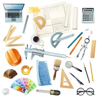 Conjunto de ferramentas de arquiteto de construção