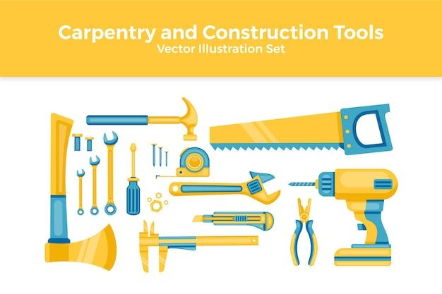 Conjunto de ferramentas de carpintaria e construção em plano