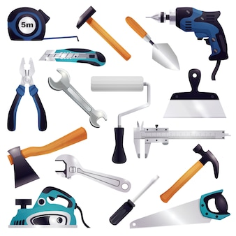 Conjunto de ferramentas de carpintaria para renovação de construção