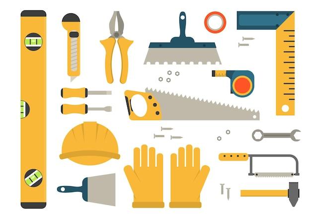 Conjunto de ferramentas de construção de ícones coloridos.