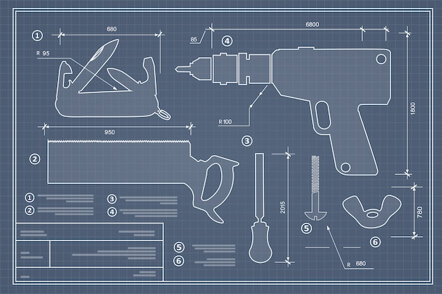 Conjunto de ferramentas de construção de silhueta