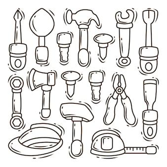 Conjunto de ferramentas de construção desenhadas à mão.