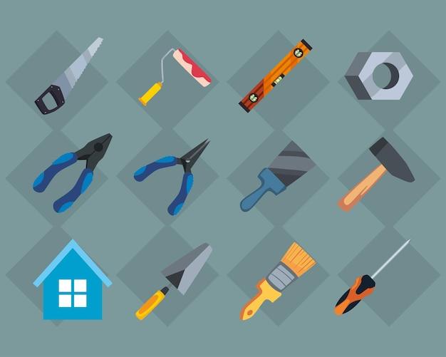 Conjunto de ferramentas de construção e carpintaria