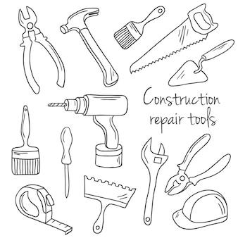 Conjunto de ferramentas de construção e reparo desenhado à mão
