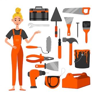 Conjunto de ferramentas de construção e uma personagem feminina. estilo dos desenhos animados.