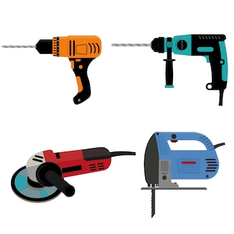 Conjunto de ferramentas de construção, furadeira e moedor elétrico de quebra-cabeça, ilustração vetorial colorida isolada em estilo cartoon