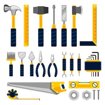 Conjunto de ferramentas de construção plana