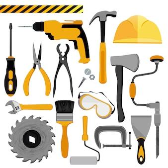 Conjunto de ferramentas de construção.