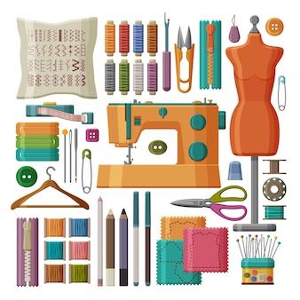 Conjunto de ferramentas de costura e acessórios isolados no fundo branco.