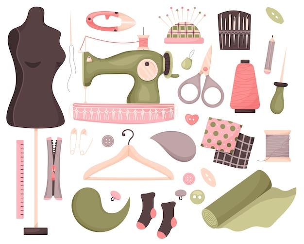 Conjunto de ferramentas de costura.