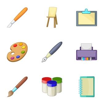 Conjunto de ferramentas de desenho e escrita, estilo cartoon