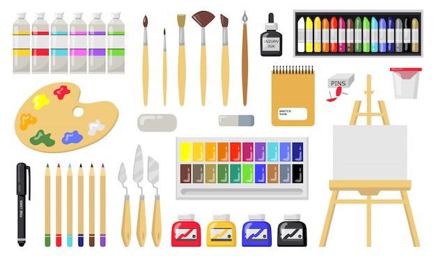 Conjunto de ferramentas de desenho e pintura