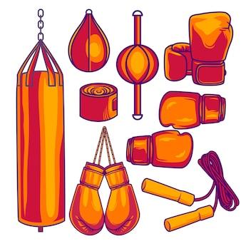 Conjunto de ferramentas de equipamentos de boxe isolado no fundo branco