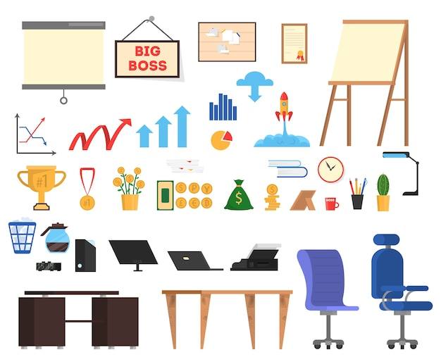 Conjunto de ferramentas de escritório. coleção de ícone de negócios