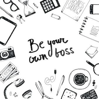 Conjunto de ferramentas de escritório de mão desenhada. freelance, ferramentas para fazer negócios online, empresário.